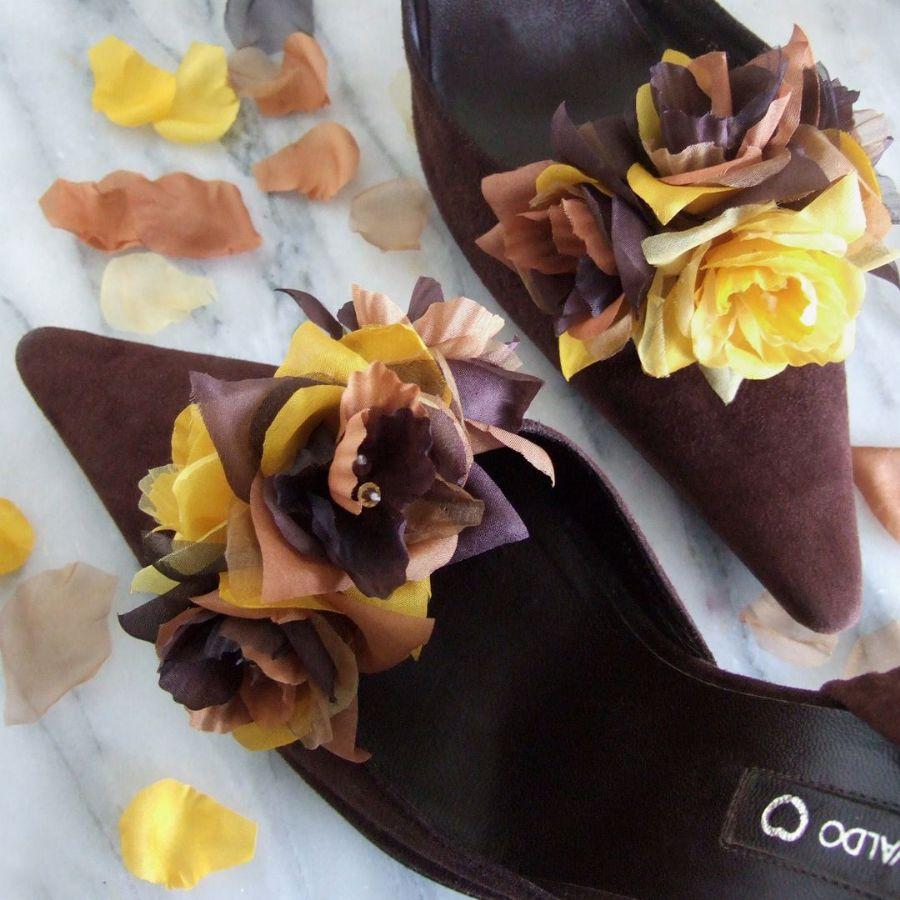"Pair Choc Mocha Golden Yellow Bridal Silk Floral Roses and Crystals ""Denni"" Shoe Clips SCB0110"